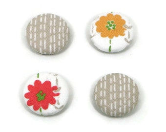 Fabric button magnet (set of 4), flower magnet, red and orange, fabric magnet, fridge magnet, locker magnet, strong magnet, fabric covered