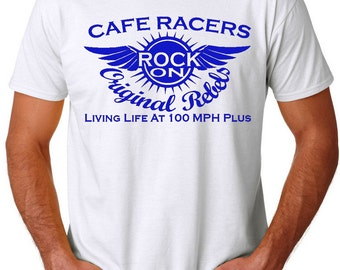 Cafe Racers T-Shirt Mens Greasers Rock And Roll 60's Original Design