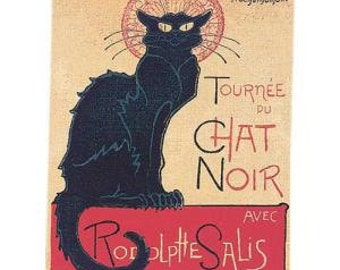 belgian gobelin wall tapestry hanging Le Chat Noir by Steinlen jacquard woven