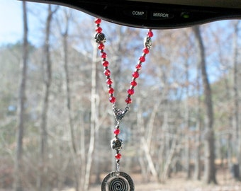 The Soul's Traveller – A Rear View Mirror Charm Companion (Red / Silver Rose Charm)