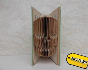 Folded Book Art Pattern Skull / Boyfriend Gift / Halloween decor  / Tutorial / Gift / Skull /  Art / Scuplture / Skeleton / Bone