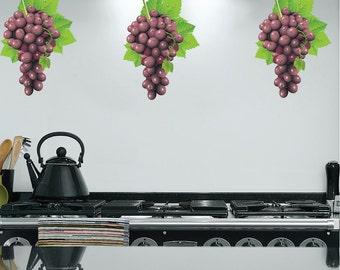 Grape Decals, Grape Vine wall Decor, Grape Wall Murals, Removable Grape Stickers, Grape Wall Stickers, Kitchen Wall Decals, Kitchen Art, d27