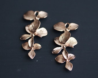 P0-046-PG] Triple Orchid Flower / 15 x 33mm / Pink Gold plated / Pendant / 2 pieces