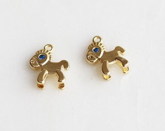 P1-388-G] Blue Eyed Pony / 8 x 10mm / Gold plated / Pendant / 2 piece(s)