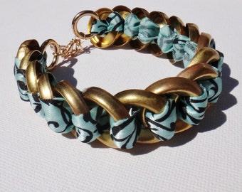 Brass/Silver Ring Ribbon Bracelet