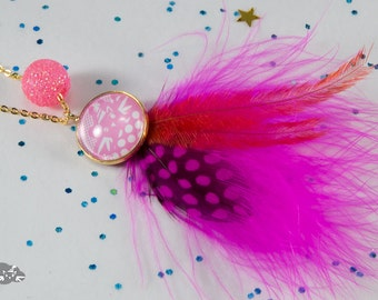 Necklace feathers 'Mabzoju Pop - C3' for little girls