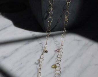 Multi-colored semi-precious stone chain necklace.