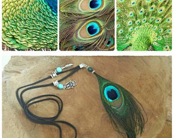 Peacock feather necklace made with gemstone Jade green or Turquoise and charms.