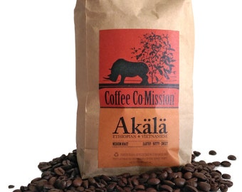 Akälä Organic Fresh Ground Coffee or Roasted Coffee Robusta Harrar café