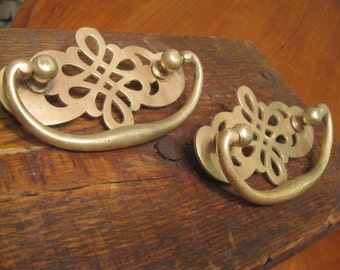 Large Drawer Pulls ,Two Large Solid Brass Drawer Pulls ,Large Brass Pulls