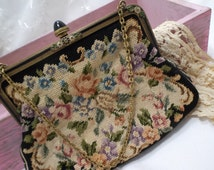 Edwardian petit point purse, gumdrop clasp, rose flower, tapestry embroidery vintage, Austria made, enamel frame, lovely 36005
