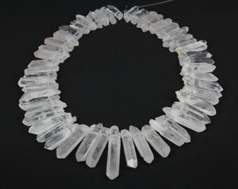 AAA-grade of strand Natural White Raw Clear Rock Quartz Crystal Point Beads,Top Drilled Dagger Tusk Rough Quartz Gemstone pendants