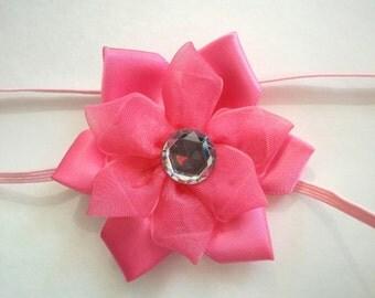 pink baby headband- baby headband- baby girl headband- baptism headband- christening headband- newborn headband- flower headband, baby bow