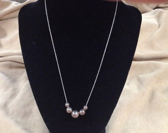 Vintage 925 Sterling Silver Chain Necklace with Beaded Design, Length 18''