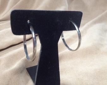 Vintage Silvertone Hoop Earrings, 1.5'' In Diameter