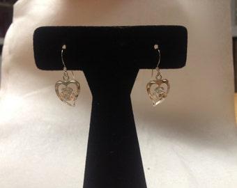 Vintage 925 Sterling Silver Heart Earrings, 1 1/8'' Long by 1/2'' Wide
