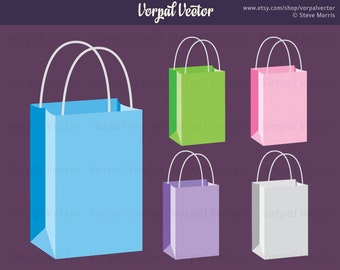 Shopping Bag Clipart, Swag, Paper, Handle, Color, Graphic Illustration Clip art - Instant Download