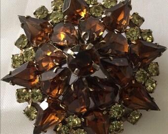 Vintage Topaz and Citrine Rhinestone Brooch Sparkles