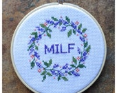 MILF Lavender Floral Ring Cross Stitch Art - Mother's Day Gift, Baby Shower