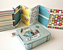 Vintage suitcase with mini album,Paper suitcase,Travel mini album,Scrapbooking mini album, Ready to ship