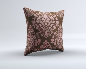 pink and brown throw pillow, modern throw pillow, pink and brown pillow, decorative pillow, 16x16, 18x18, 20x20,14x14 modern throw pillow