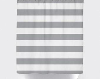 gray white stripe shower curtain, modern shower curtain, fabric shower curtain,  chevron shower curtain, waterproof