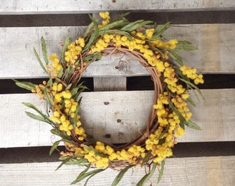 Spring Wreath, Yellow Wreath, Rustic Wreath, Summer Wreath, Wreath, Sun Wreath, Grapevine Wreath, Wreath