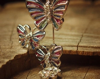 Triple butterfly brooch pin antique styled vintage costume jewelry look fine unique jewellery #5016
