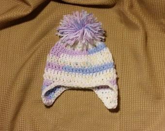 Crocheted Pastel Earflap Baby Beanie with Pom Pom