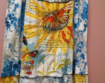 Butterfly and Sunflower Upcycled T-skirt T-shirt Skirt