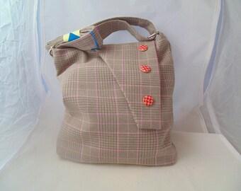 Black and Grey Check  Crossbody Bag (Free UK Postage)