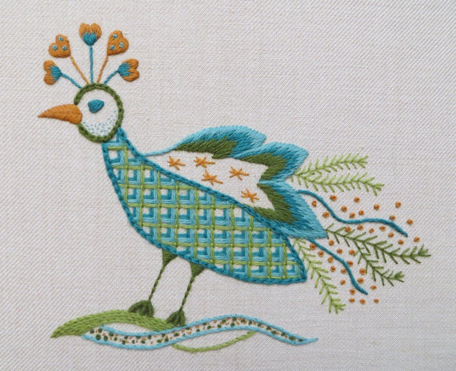 Hand embroidery kit in jacobean style peacock design