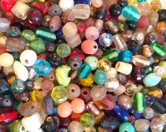 Vintage Czech glass beads large mixed lot size shape color 1000s of pieces