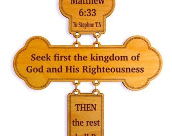 Matthew 6:33 Bible Verse - Scripture Wall Cross Gift, Christian Home Decor for Housewarming-Family Room, Religious Inspirational Gift.
