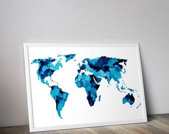 Blue world map, watercolor art print,  Digital download map, Printable world map