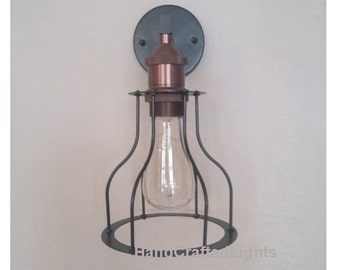 Vintage Retro Industrial wall lamp cage light copper lamp holder