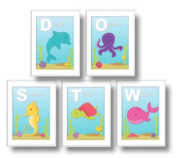 Ocean Wall Decor For Nursery : Ocean nursery girl abc wall art under the sea
