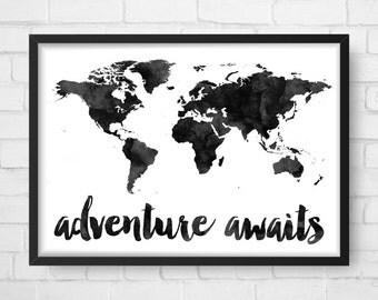 Adventure Awaits Map, Travel quote, World Map, Watercolor Map, Map Poster, Wanderlust, Map Art, Map Print, Wanderlust, Nursery Wall Art