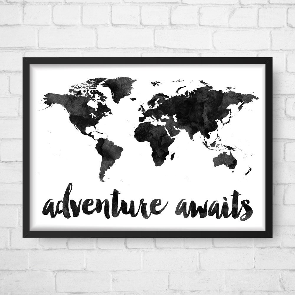 adventure awaits map travel quote world map watercolor map. Black Bedroom Furniture Sets. Home Design Ideas