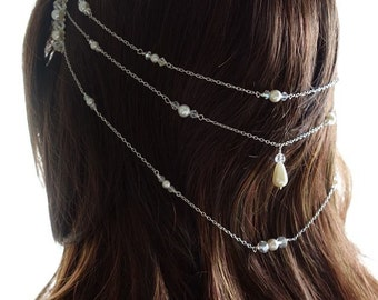 925 Silver Swaovski Crystal and pearl Hair Chain