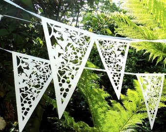 White Lace Bunting Wedding Heart Bunting Banner Garland Party Floral Bunting