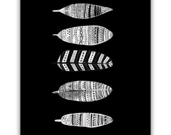 Feather Art Print, Black And White Art, BOHO Art, Tribal Art, Instant Download