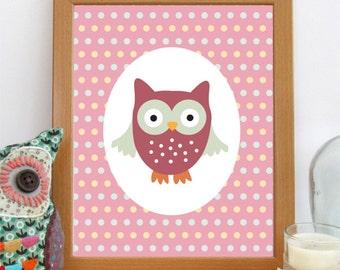 Owl Nursery Print, Owl Decor, Printable Art, Woodland Nursery, Girls Room Print, Pink Decor