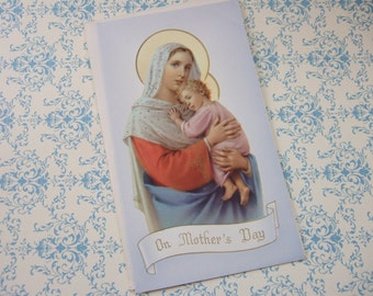 Vintage Catholic MOTHER's DAY Greeting Card w/ Spiritual Bouquet - UNUSED not filled out!