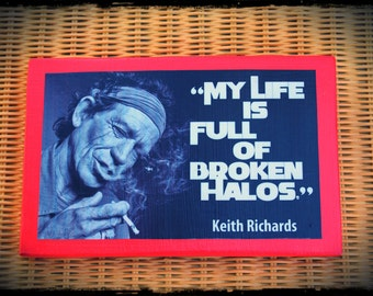 "Wood sign ""Keith Richards"", hand-made wall decor. Rolling Stones."