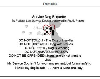 Service Dog Awareness Cards