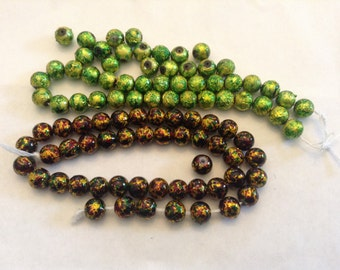 Foil glass beads 8mm
