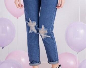 Boyfriend Distressed / Ripped Star Denim Jeans Size 6/8