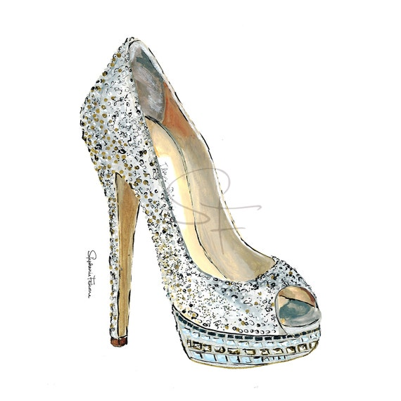Watercolor Shoe Print Sparkly High Heel