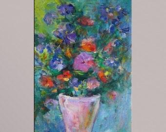 Oil Painting, Spring Flowers, Floral Painting, Abstract Art, Original Oil Painting, Large Flower Painting, Modern Wall Art, Canvas Art